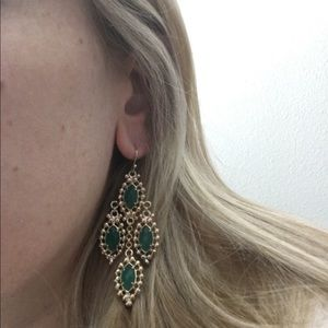 Jewelry - Gold and green dangly earrings